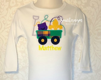 Mardi Gras Shirt, Personalized Mardi Gras Shirt, Boys Mardi Gras Shirt, Plaid Mardi Gras Wagon, Madras Plaid, Fat Tuesday Shirt, Mardi Gra
