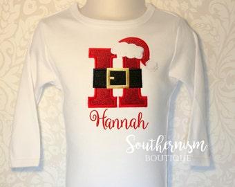 Girls Christmas Shirt, Monogram Christmas, Santa Shirt, Santa Belt Monogram, Personalized, Monogram, Christmas Shirt, with name, babies