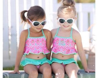 Monogram Bathing suit, Girl Monogram, Bathing suit, Monogram Bikini, mermaid Bikini, Toddler bathing suit, ruffle bathing suit, personalized