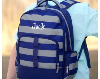Personalized Backpack, Boys Backpack, nautical , striped backpack, backpack name, preschool, elementary, middle, custom, monogram backpack