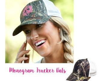 Camo Monogram Hat, Monogram trucker hat, personalized hat, Monogram Gift, Monogram trucker, trucker cap with monogram, camoflauge trucker