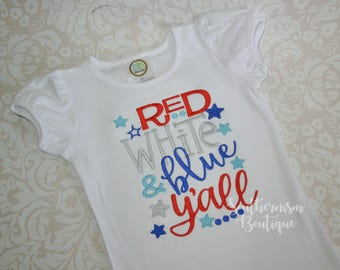 Girls July 4th shirt, 4th of July, Patriotic, Military coming home, Flag shirt, Patriotic, yall, boutique shirt, personalized, monogram