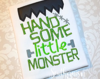 Boys Halloween Shirt, Monster shirt, Frankeinstein Shirt, Monogram Halloween, Personalized, Cutest Monster, First Halloween, Trick or Treat