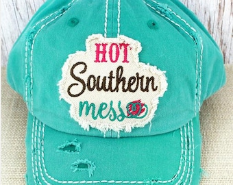 Distressed Ball Cap, Hot Southern Mess Hat,southern hat, beach hat, funny hat, river hat, womens hat, gift for friend, Pool Hat, funny