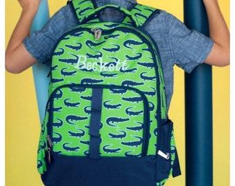 Personalized Backpack, Boys Backpack, alligator , gator backpack, backpack name, preschool, elementary, middle, custom, monogram