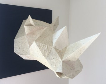 Rhino Trophy 3D Papercraft Model - Download PDF Template - DIY Decoration