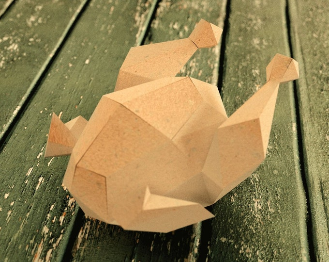 Roast Turkey 3D Papercraft Model - Origami art - DIY pattern - Downloadable PDF template