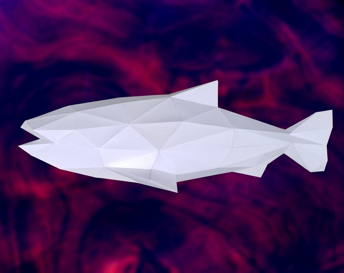 Salmon Fish - 3D Papercraft Model - Download PDF Template - DIY Decoration