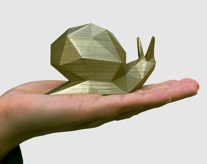 Snail Sculpture - Gold color - Geometric Home Decor Model - Low Poly Faceted Art