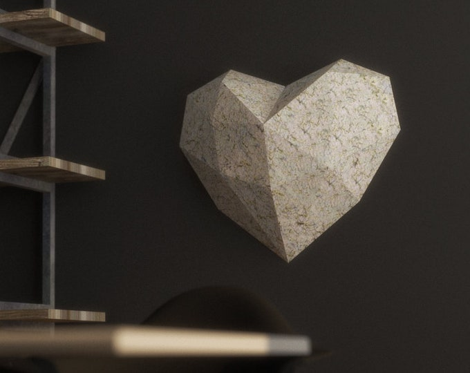 Papercraft Heart Model - 3D Origami - Download PDF Template -  DIY Decoration