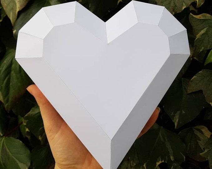 Printable Paper Model Of Hearts - Folding 3d - Diy Template