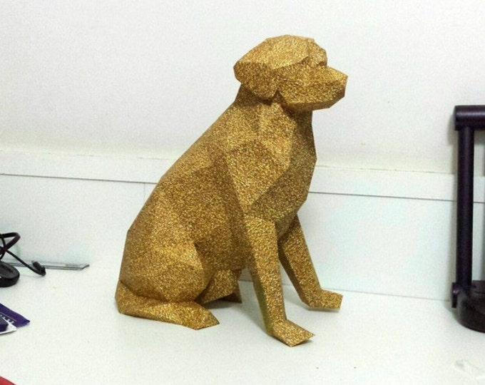 Printable Paper Model Of A Labrador Retriever Dog - Folding Diy Template