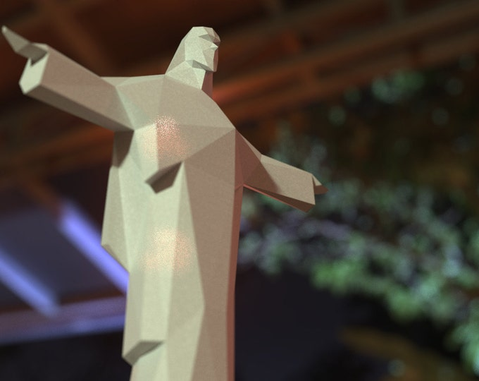 3D Papermodel of Christ The Redeemer In Rio De Janeiro - Instant downloadable PDF Papercraft Template