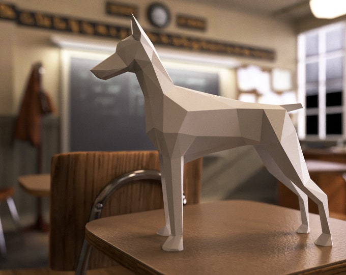 Doberman Papercraft Template