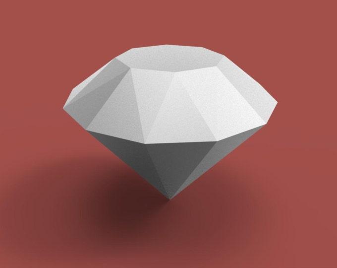 Diamond 3D Papercraft Model - Download PDF Template - DIY Decoration