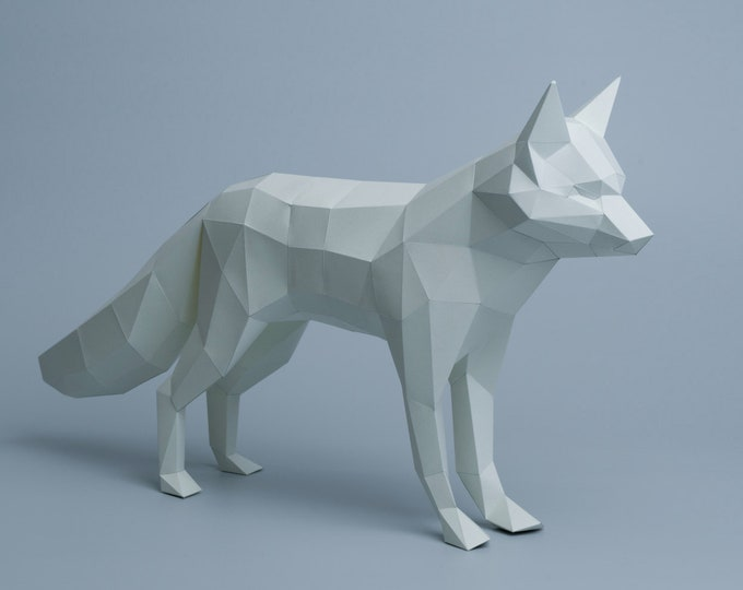 Arctic Fox - Papercraft Pattern - DIY Origami model - Downloadable PDF template