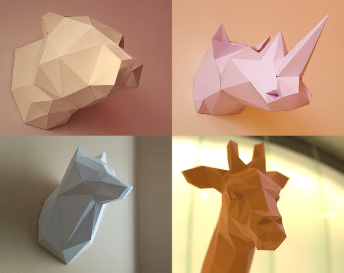 Bear, Giraffe, Wolf and Rhino 3D Papercraft Models - Download PDF Template - DIY Decoration