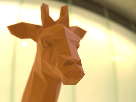 Giraffe Paper Trophy 3D Papercraft Model PDF Template
