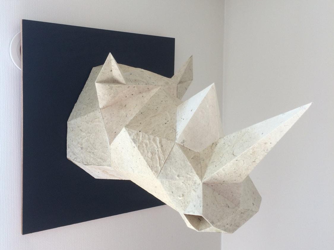 Modelo de papel para imprimir de trofeo de rinoceronte.   Etsy