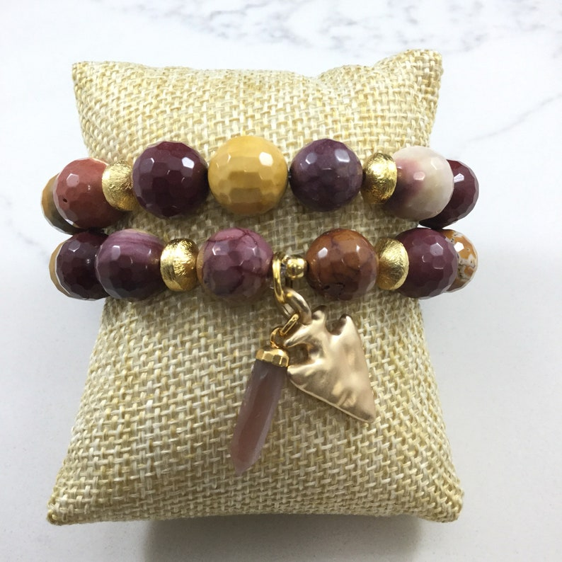 Fast and free shipping Set of 2 Georgina mookaite beaded bracelets with moonstone accent and arrowhead charm