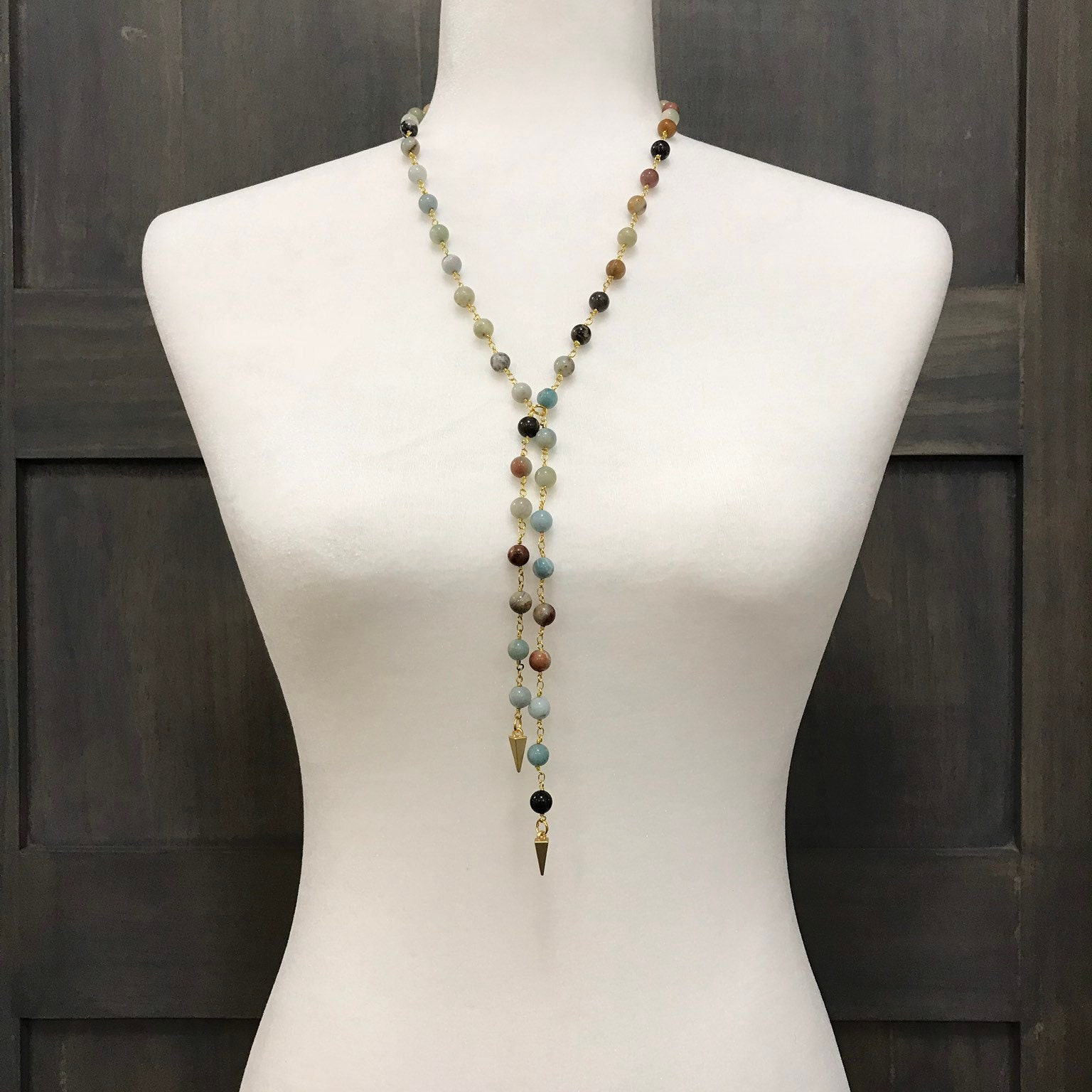 Amazonite beaded necklace || Fast snd free shipping