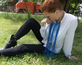 "Beautiful Macrame "" Blue avalanche "" necklace  Black Leather Necklace Handmade Suede Leather Long Black Leather Necklace"