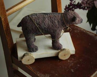 Circus bear art toy vintage style artist teddy bears dark lilac