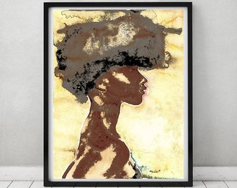 African Black woman art, Black Female figurative art, Silhouette portrait, Gold art, Black art, Watercolor,