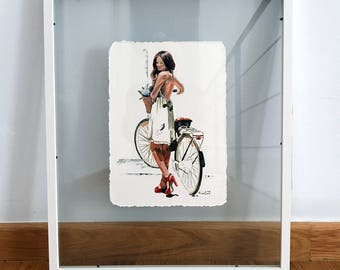 Vintage bicycle painting, vintage bike with woman, fashion illustration, french art,