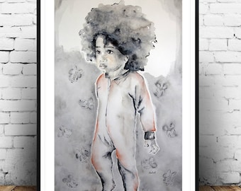 Afro art, African figurative painting,  Afro kids wall, for kids room, kids portrait, original watercolor painting, Original art.