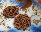 Flower dangle earrings, Natural african wood, Eco-friendly jewelry