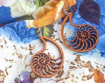 Nautilus shell dangle earrings, Natural wood, Eco-friendly jewelry