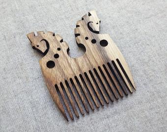 Horses fantasy wooden comb, natural wood #6