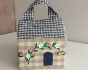Fabric Dolls House Bag - Handmade