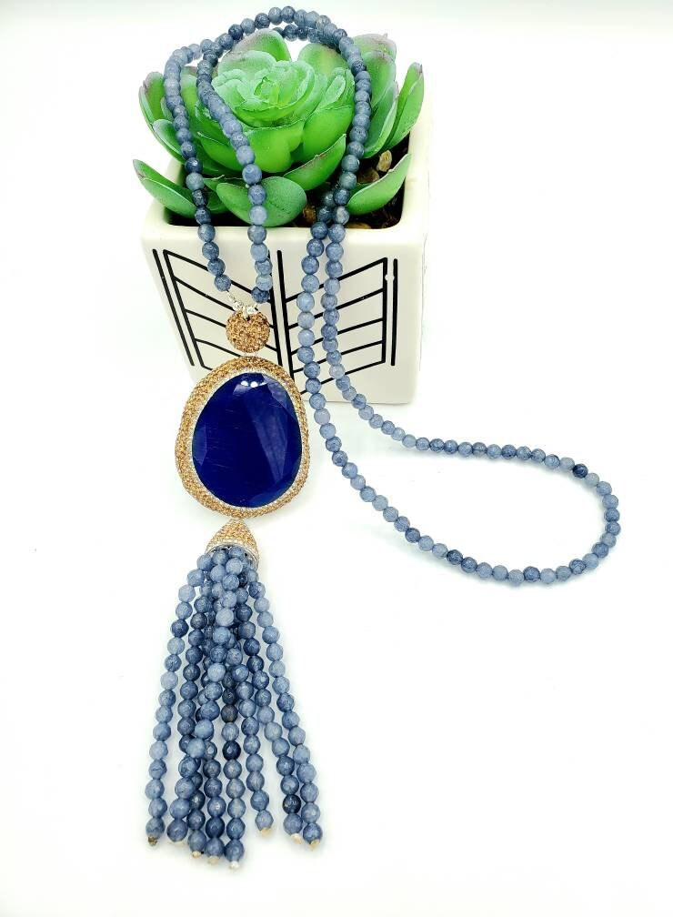 gifts for her Bohemian tassel necklace gold tone multi gem crystal necklace Long blue beaded necklace with a tassel