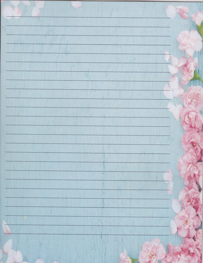Flower Edged Fine Lined Stationery 8.5 X 11 25 Sheets and 10 Color Co-ordinated Envelopes