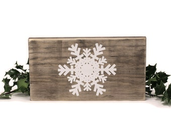 Rustic Snowflake Wood Christmas Decoration for Wall, Mantle, or Bookshelf