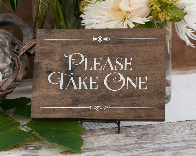 Rustic Chic Wedding Please Take One Wood Party image 0