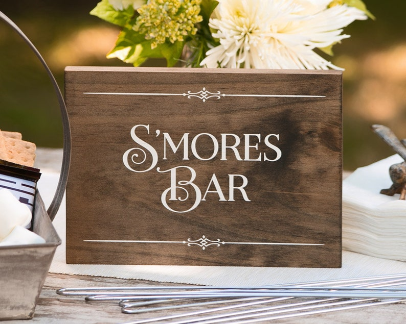 Rustic Chic Wedding S'mores Bar Wood Sign for image 0