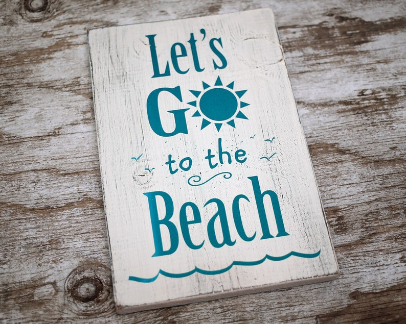 Shabby Chic White Wood Sign Let's Go to the image 0