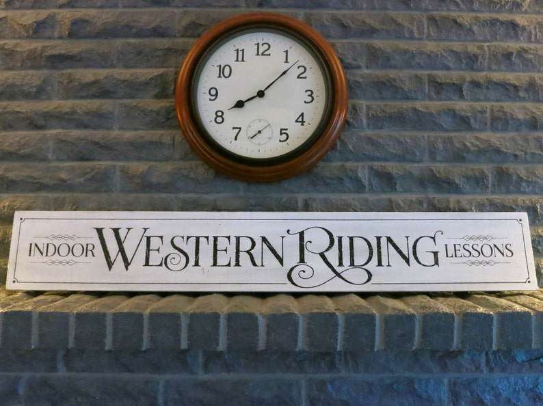 Indoor Western Riding Lessons Shabby Chic White Wood Sign for image 0
