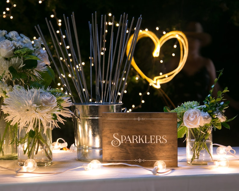 Rustic Chic Sparklers Wood Party Sign for your image 0