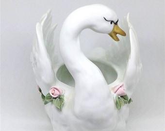 Swan with rose Vintage porcelain bisque swan Bisque swans candle holder figurine