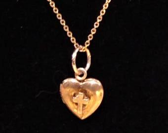 Vintage Heart Pendant, 12K  1/20 Gold Filled on Silver Sterling Silver, Heart Locket, Heart Religious Locket, 14K Gold Chain, Religious Gift