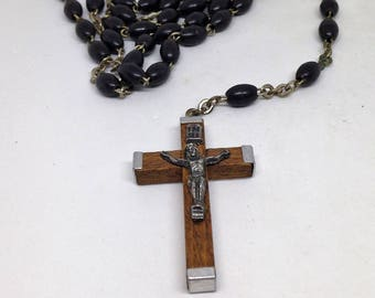 Antique Vintage Black Rosary, Vintage Black Bead Rosary, Catholic Rosary, Italy Wood Silver Crucifix, Italy Black Prayer Beads