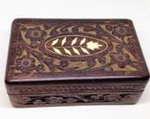 India Carved Wood Trinket Box or Jewelry Box, Vintage 1970s Bone Inlaid Wood Box with Felt Lining, Bohemian Home Decor