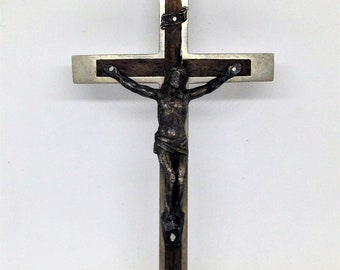 """Sterling Silver Large Crucifix with Latin Cross Pendant Charm 1 5//8/"""" tall"""