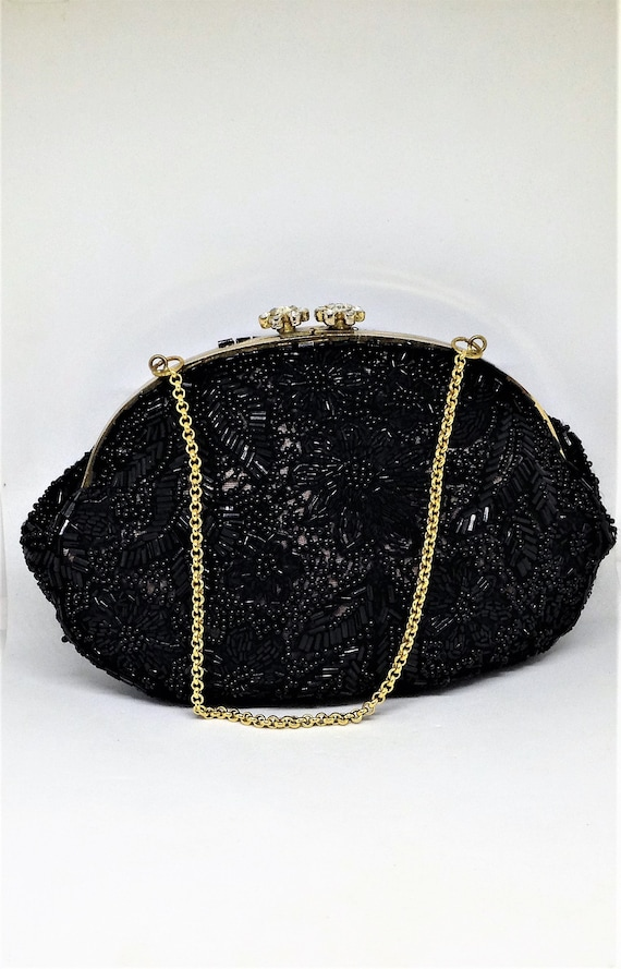 Vintage Black Seed Bead Coin Purse Hand Beaded Travel Pouch Zipper Closure Elegant Accessory Makeup Bag Small clutch Jewelry Bag