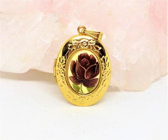 Patterned Rose Rolled Gold Locket Pendant Blue Cabochon Stone Elegant