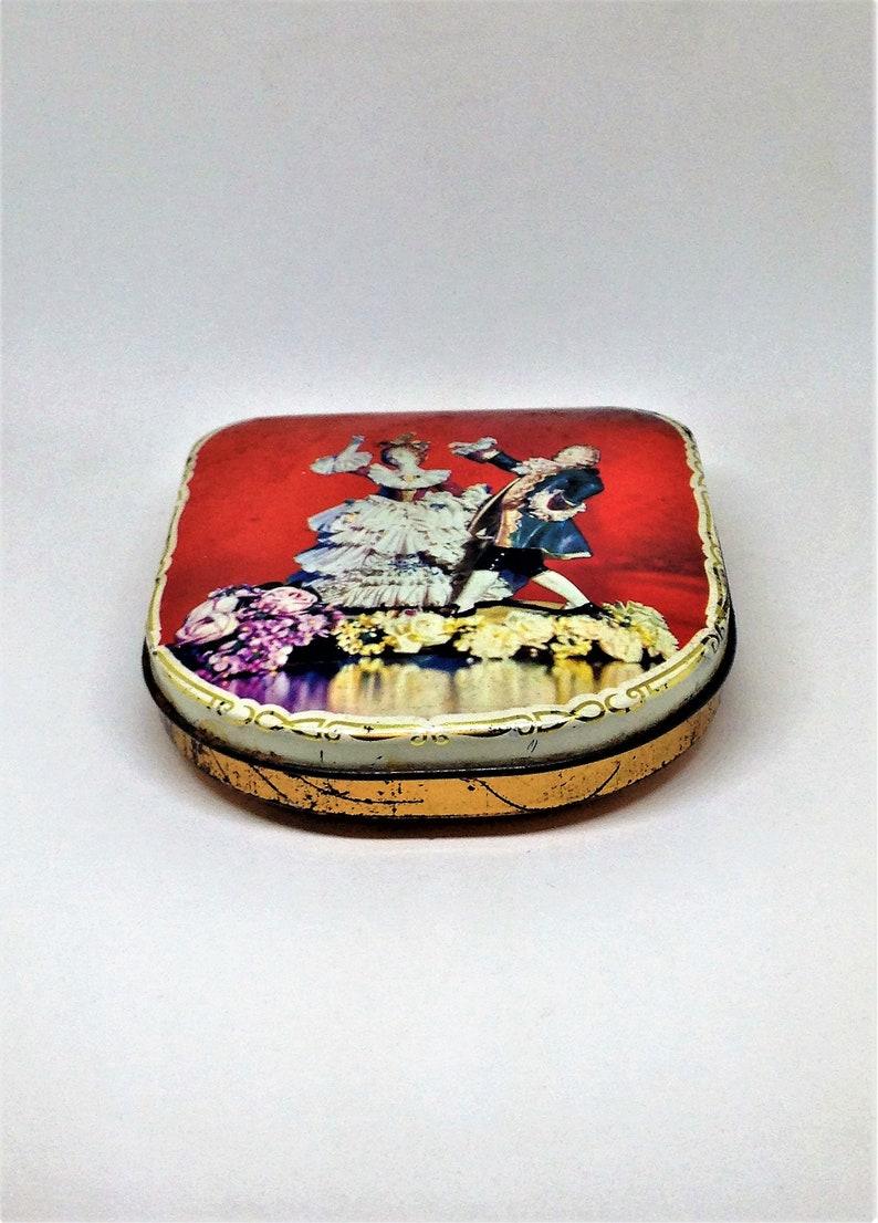 Victorian Tin Dancing Dresden Couple Great Britain Tin Vintage Tin Trinket Tin Small Hinged Tin Red Tin Collectible Tin Button Tin